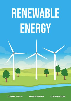 Renewable energy poster flat vector template