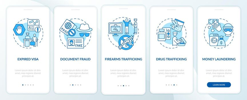 Reasons for deportation blue onboarding mobile app page screen