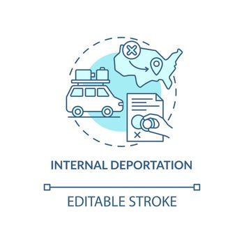 Internal deportation blue concept icon