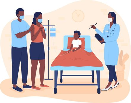 Hospital stay for kid 2D vector isolated illustration