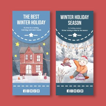 Flyer template with happy winter concept,watercolor style
