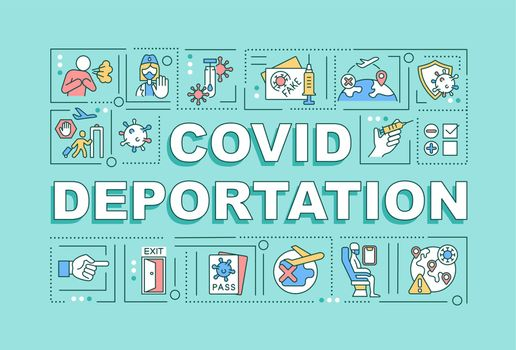 Covid deportation word concepts banner