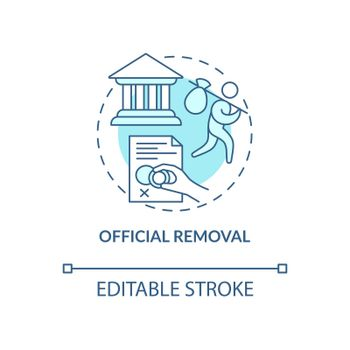 Official removal blue concept icon