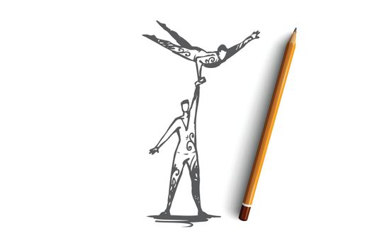 Acrobatic, circus, balance, performance, cooperation concept. Hand drawn isolated vector.