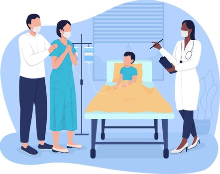 Kid in emergency room 2D vector isolated illustration