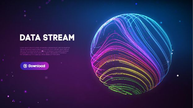 Abstract purple data stream. Abstract digital background cloud technology. Big Data Technology vector illustration.