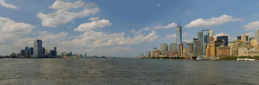 Lower Manhattan of cityscape and of Jersey City the Hudson River famous skyscrapers of New York City