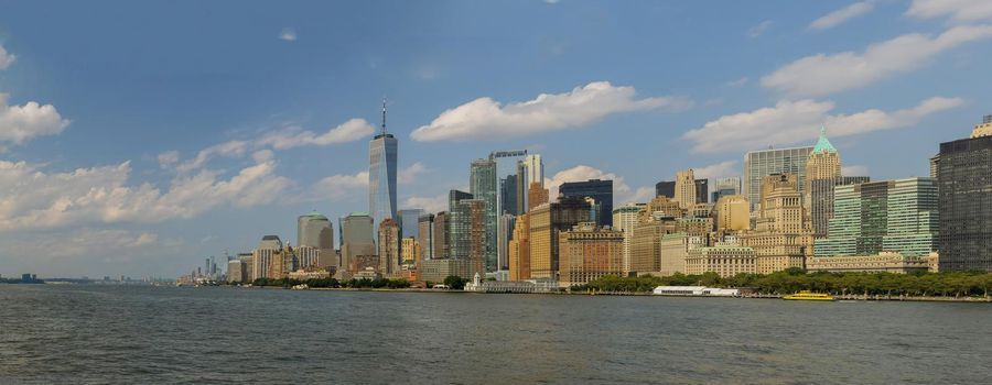 Panorama view Lower Manhattan of cityscape and famous skyscrapers in New York City
