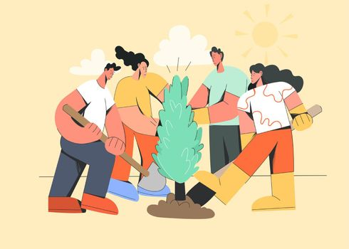 Group of people plant tree together