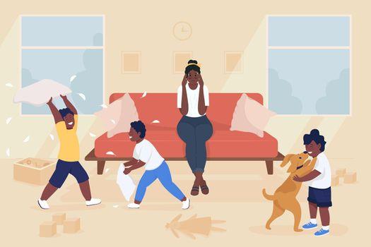 Stress of motherhood flat color vector illustration