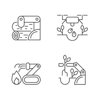 Automation for wellbeing linear icons set