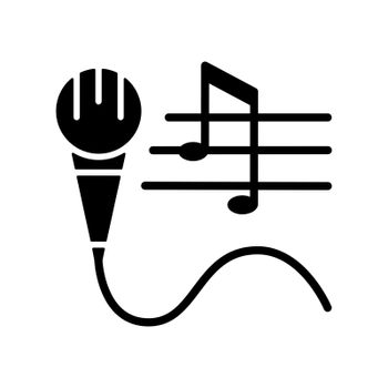 Talent for singing black glyph icon