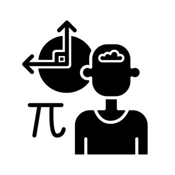 Mathematical intelligence black glyph icon