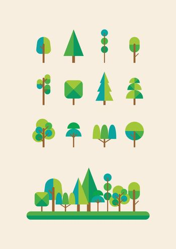 2d view of trees forest
