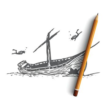 Underwater, boat, seabed, ship, diving concept. Hand drawn isolated vector.