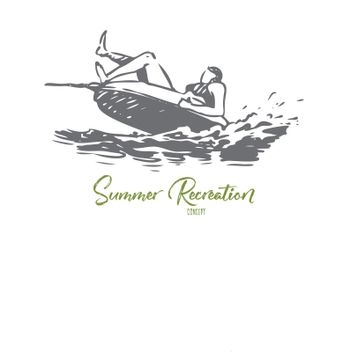 Water, sea, summer, attraction, banana concept. Hand drawn isolated vector.