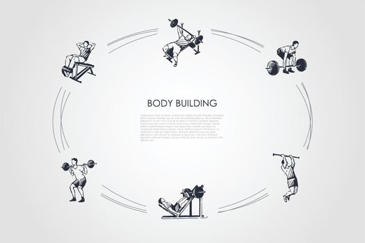 Body building - man making exercises with barbell in gym vector concept set