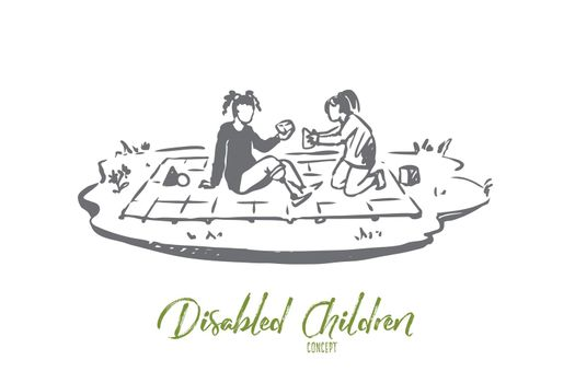Disabled, girl, play, prosthesis concept. Hand drawn isolated vector.