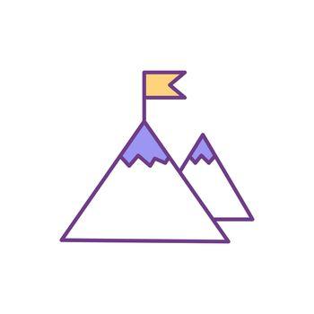 Goal achievement RGB color icon