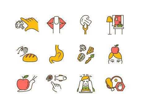 Conscious nutrition RGB color icons set