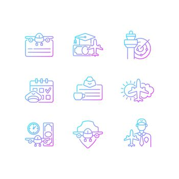 Aviation gradient linear vector icons set