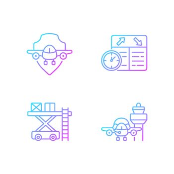 Civil aviation safety flights gradient linear vector icons set