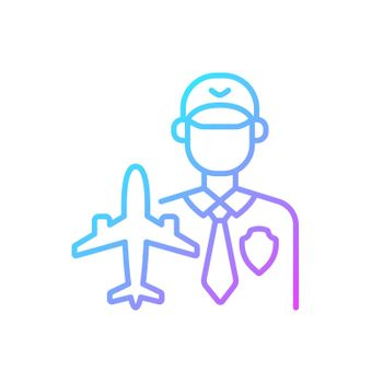 Aviation security gradient linear vector icon