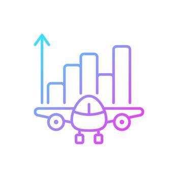 Aviation analytics gradient linear vector icon