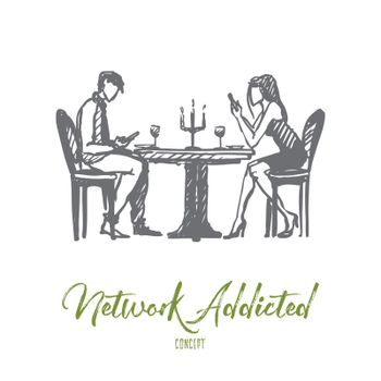 Network addicted concept. Hand drawn isolated vector.