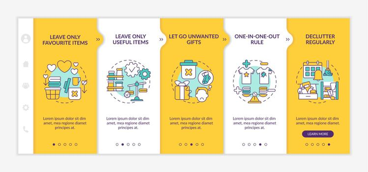 Decluttering advices onboarding vector template