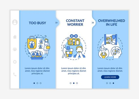 Overwhelmed in life onboarding vector template