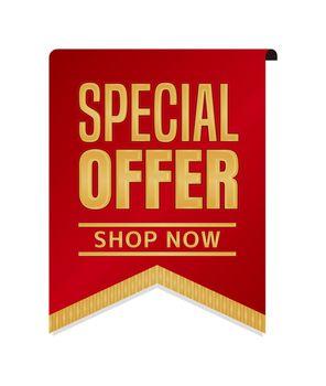 Special offer icon illustration set for ecommerce site etc. ( vintage flag motif )