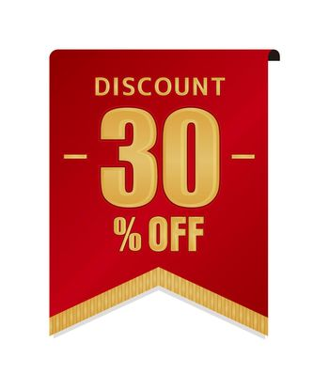 30% off icon illustration for ecommerce site etc. ( vintage flag motif )
