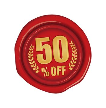 50% off icon illustration  for ecommerce site etc. ( sealing wax motif )