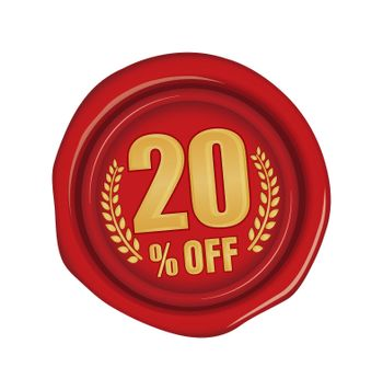 20% off icon illustration  for ecommerce site etc. ( sealing wax motif )