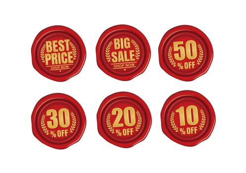 Discount icon illustration set for ecommerce site etc. ( sealing wax motif )