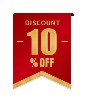 10% off icon illustration for ecommerce site etc. ( vintage flag motif )