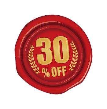 30% off icon illustration  for ecommerce site etc. ( sealing wax motif )