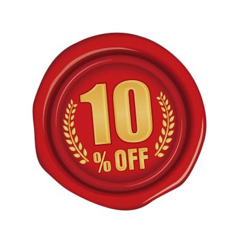 10% off icon illustration  for ecommerce site etc. ( sealing wax motif )