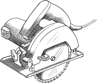 Circular saw hand drawn illustration.