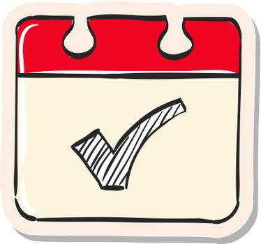 Hand drawn sticker style icon Available calendar reminder