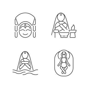 Nepal spiritual heritage linear icons set
