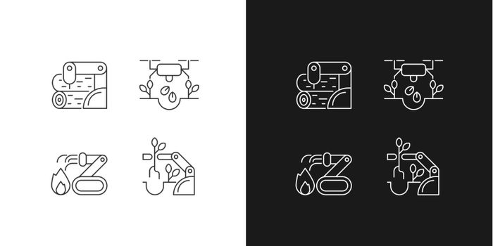 Automation for wellbeing linear icons set for dark and light mode