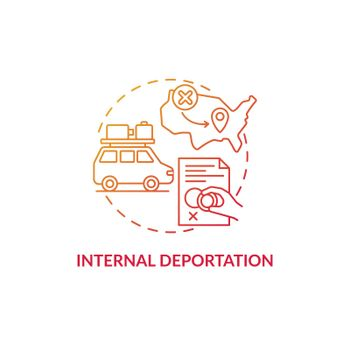 Internal deportation gradient red concept icon