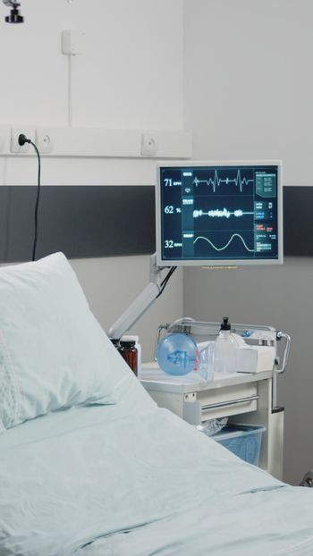 Nobody in hospital ward for resuscitation and healthcare