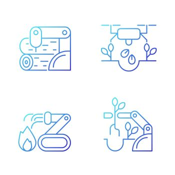 Automation for wellbeing gradient linear vector icons set