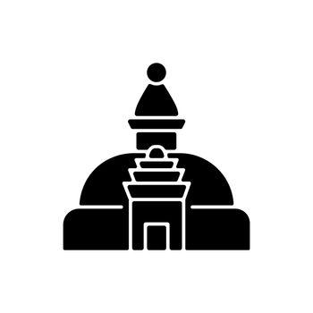 Swayambhu stupa black glyph icon