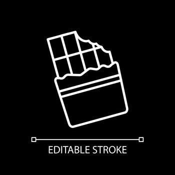 Bitten chocolate bar white linear icon for dark theme