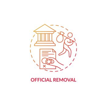 Official removal red concept icon