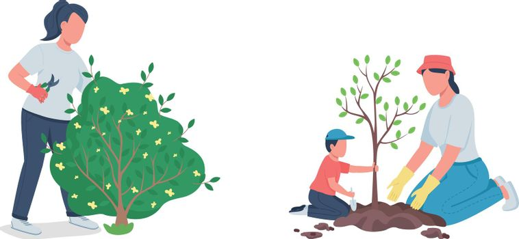 Working in garden flat color vector faceless character set